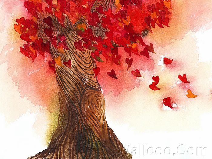 This is a beautiful rendition of the tree of love with its wind blown heart shaped leaves.