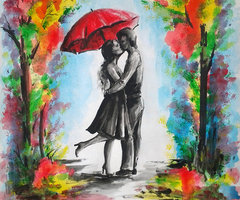 In this piece a couple stops for a quick smooch under the protection of an umbrella. This piece represents Artwork of Love!!!