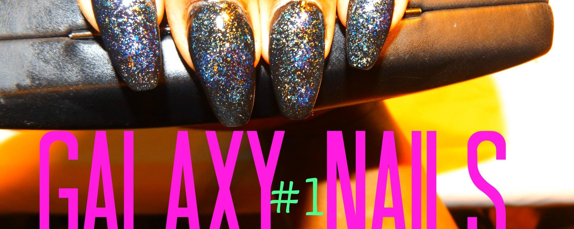 Galaxy Nail Art Design Black Glitter Polish – Vicariously Me ...