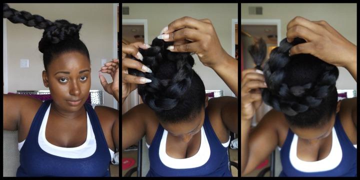 Wrapping braid around bun