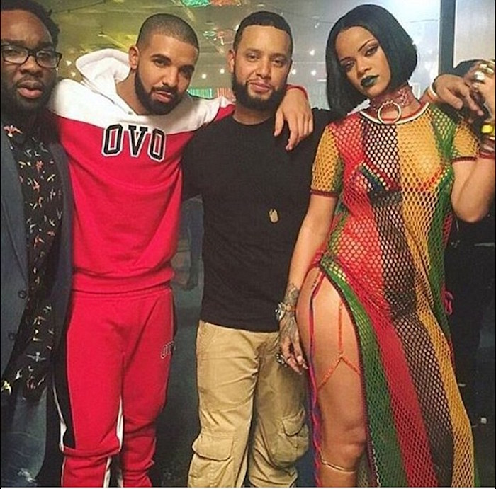 Rihanna and Drake on the set of Work Video Shoot