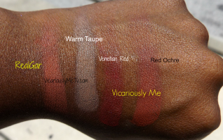 Anastasia Beverly Hills Modern Renaissance Palette Shades From Left to Right: Realgar, Warm Taupe, Venetian Red, Red Ochre