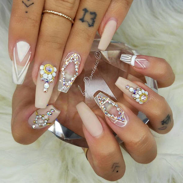 acrylic-wedding-nail-design-600×600 - Acrylic-wedding- - Diamond Design Nails Graham Reid