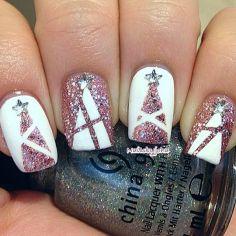 Pink Christmas tree nail design
