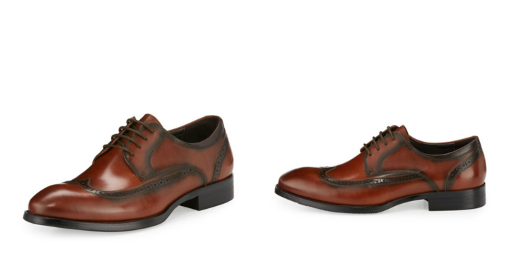 "Zanzara leather oxford with brogue trim. 1"" stacked flat hel. Wing tip round toe. Lace up front, Padded foot bed. Cognac"