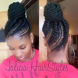 I am loving this cute braided updo. I love the slanted braides and the size variations.
