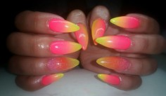 Stiletto nail design yellow and pink nail design