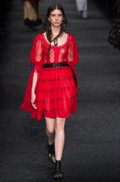 Alexander McQueen All red and killin it. I lvoe this i wish the top was off the shoulder. That would really make this ensemble COMPLETE!!!!