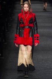 Alexander McQueen Black Leather Red Fur Coat! GAWD THIS IS GOREOUS AND READY TO WEAR!!! LOVE IT!!!!