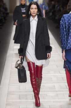 Fendi oversized Button Down top with the Red Thigh Highs!!! YES BOO!