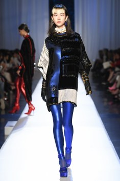 Jean Paul Gaultier Dazzled Embroidered top with Blue jumpsuit under. GAWD GAWGEOUS !!!
