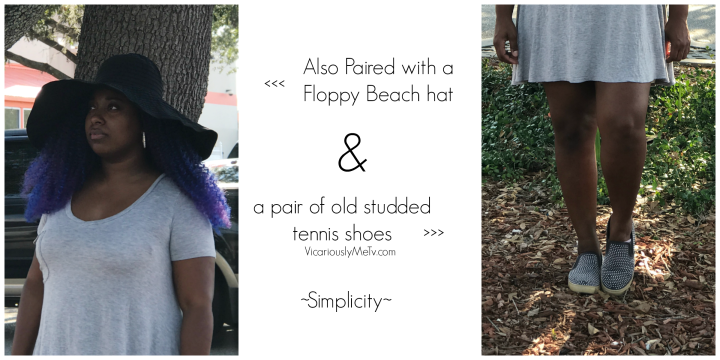 Qualah wears Floppy hat and studded tennis shoes with plain jane dress
