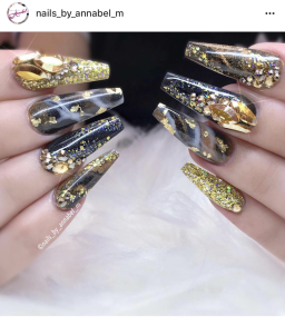 Black and gold coffin nail designs