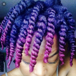 Purple and Maroon dye on natural hair