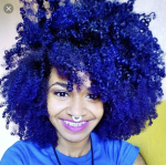 Purple blue on natural hair