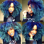 This diva has green and blue natural hair