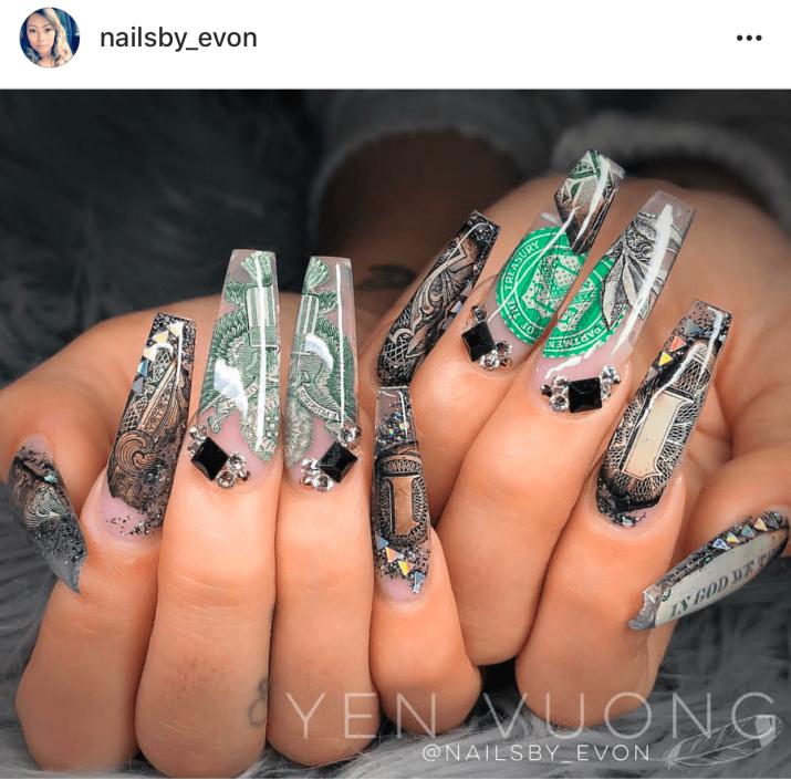 Coffin shaped money nail art