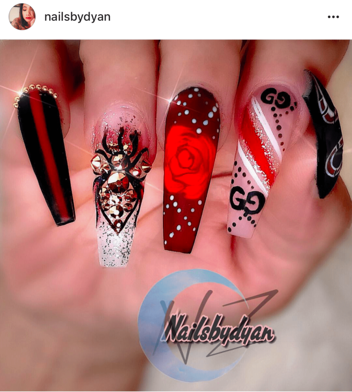 Red and Black Valentines day nails