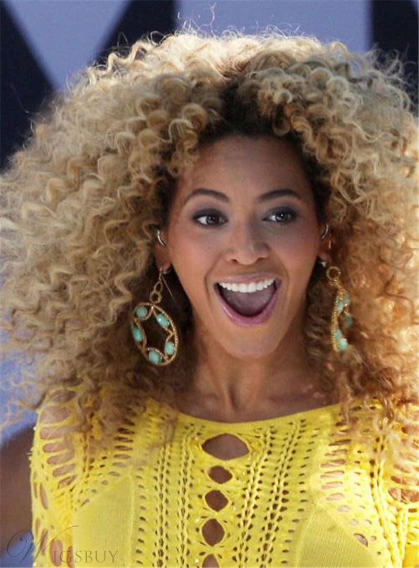 Beyonce Haircut Dark Root Medium Kinky Curly Ombre Synthetic