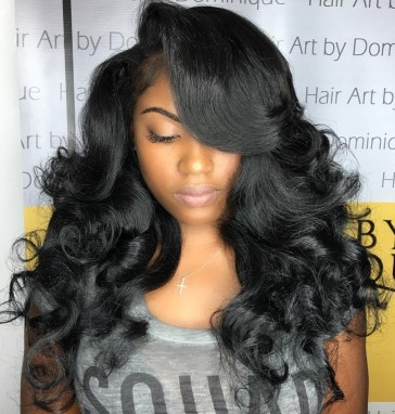 Lace front wig voluminous bouncy curls prom style