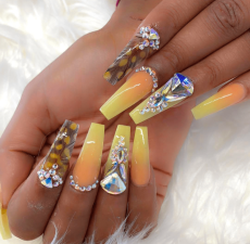 Yellow and orange Ombre Coffin Shaped Nails
