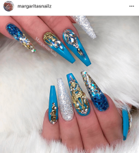 Long Coffin shaped Turquoise and Gold glitter nail art