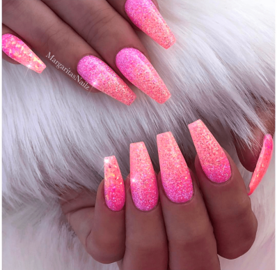 Coffin Shaped Pink Glitter Ombre Nails