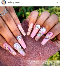 Long square coffin shaped Blush Pink Rose Nail design