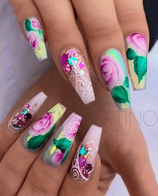 Flower Coffin Nail designs