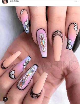 Pink orange and blue Pastel colored nail design soft nail art