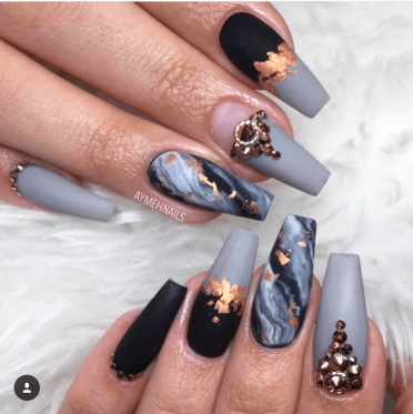 Black and Gray nails with gold foil design