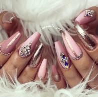 Blush pink and rose gold nail designs