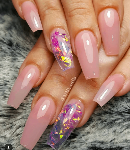 Barely pink and clear nail design
