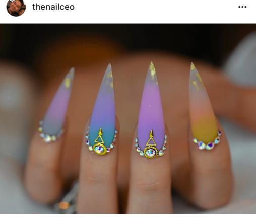 Stiletto Colorful ombre nail design
