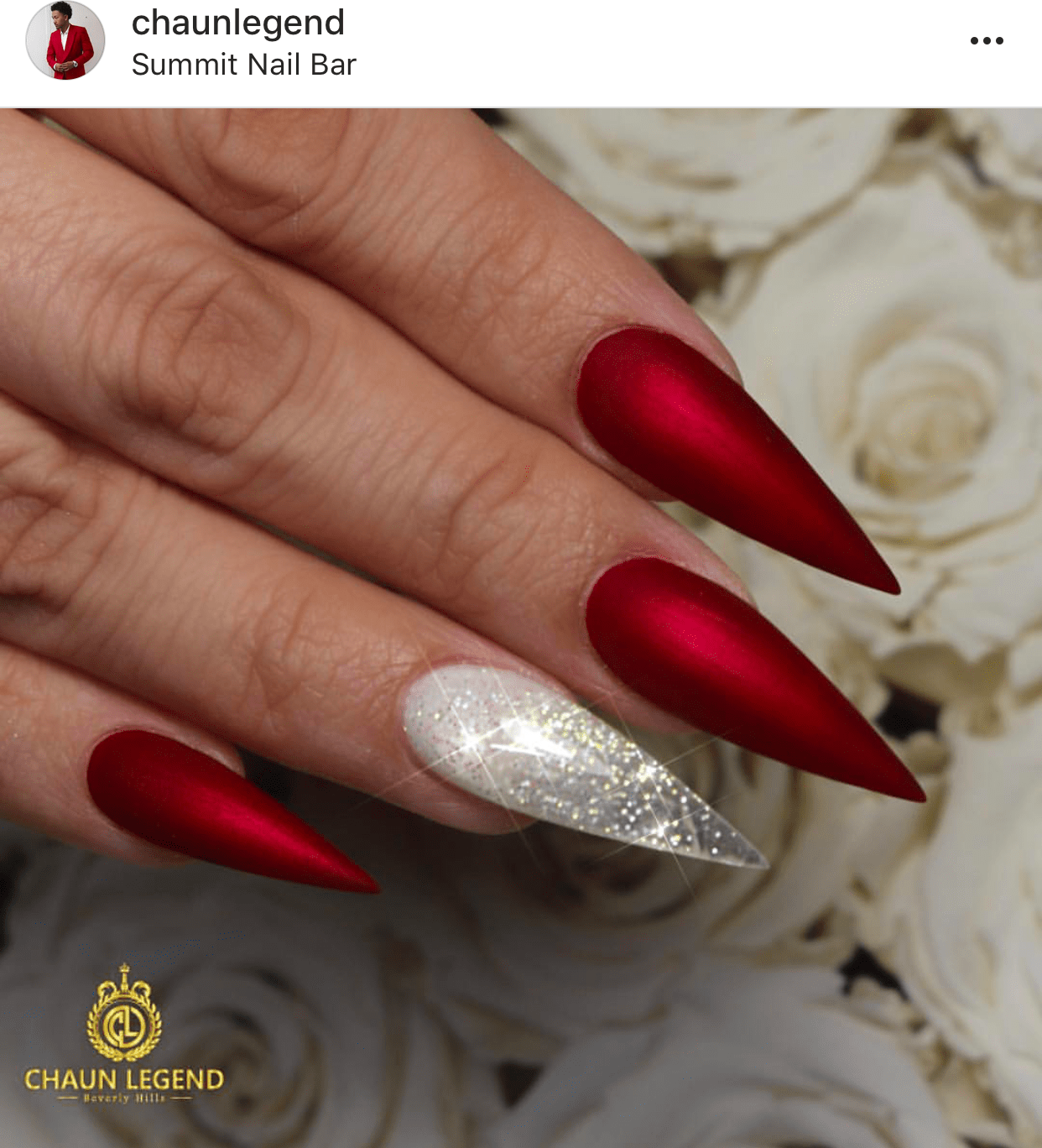 Stiletto shaped Red satin nails – Vicariously Me | Natural ...