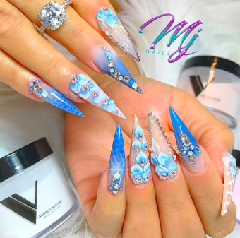 Blue Stiletto acrylic nails