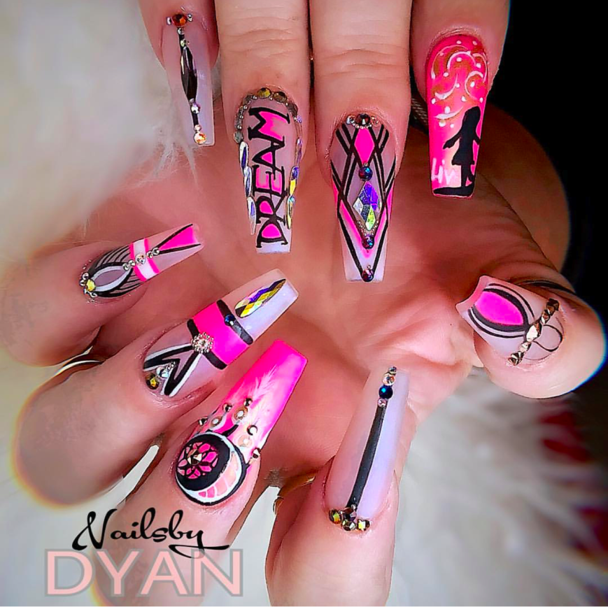 Hot Dream Pink and black nail design
