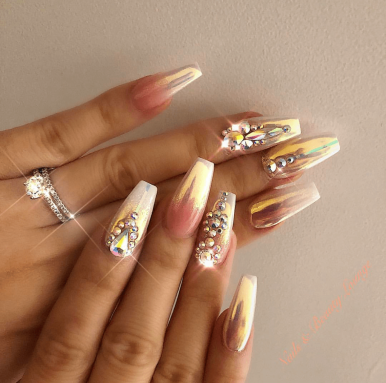 Gold Chrome Coffin Shaped nails