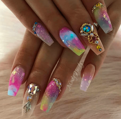 Coffin shaped colorful nail designs