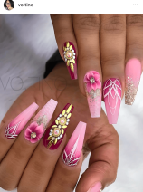 Coffin Shaped Pink and berry ombre nail design