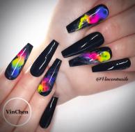 Black Smoke Coffin Shaped nail design