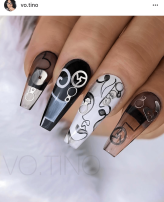 Coffin shaped Black and white abstract nail art