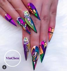 Abstract illusion Stiletto nail art Best Stiletto Nails
