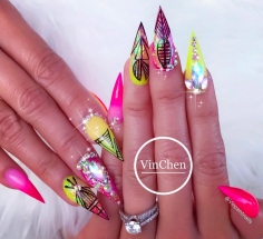 pink yellow green colored Stiletto Color