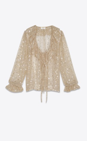 Ruffled blouse in beige silk georgette with gold polka dots $2790 saint laurent12144428sm_14_a_v4