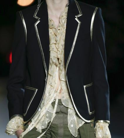 Ruffled blouse in beige silk saint laurent_ARC0014