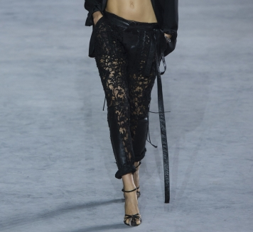 Laced Pant in Black Lace and Leather $5500
