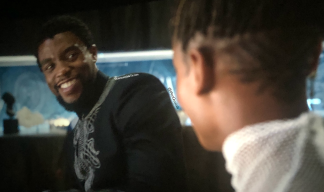 T'Challa and shuri in the lab scene black panther movie