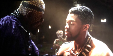 T'Challa becoming king Scene from Black Panther Movie