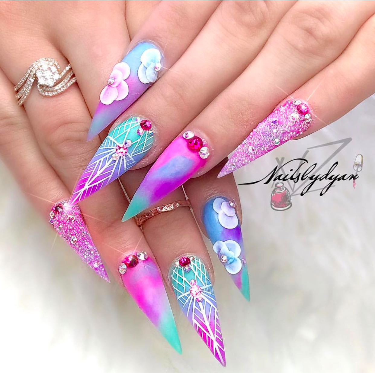 Turquoise Blue And Pink 3d Nail Design Vicariously Me Natural